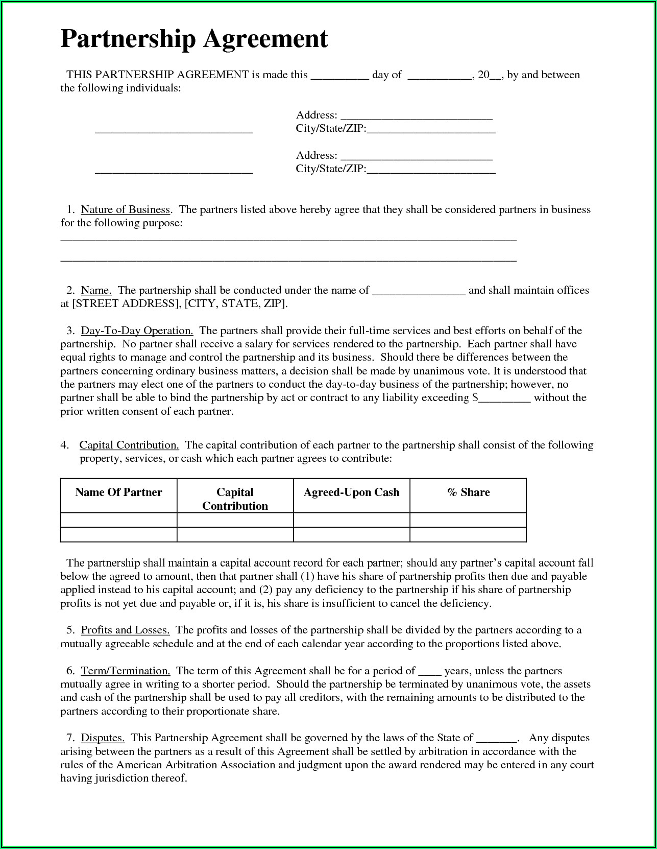 Partnership Agreement Template Uk Pdf