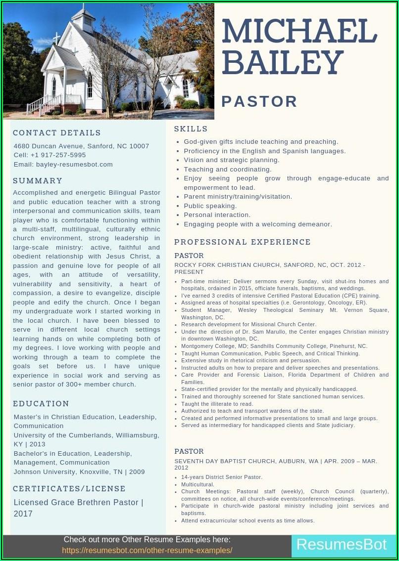 Pastor Cv Template