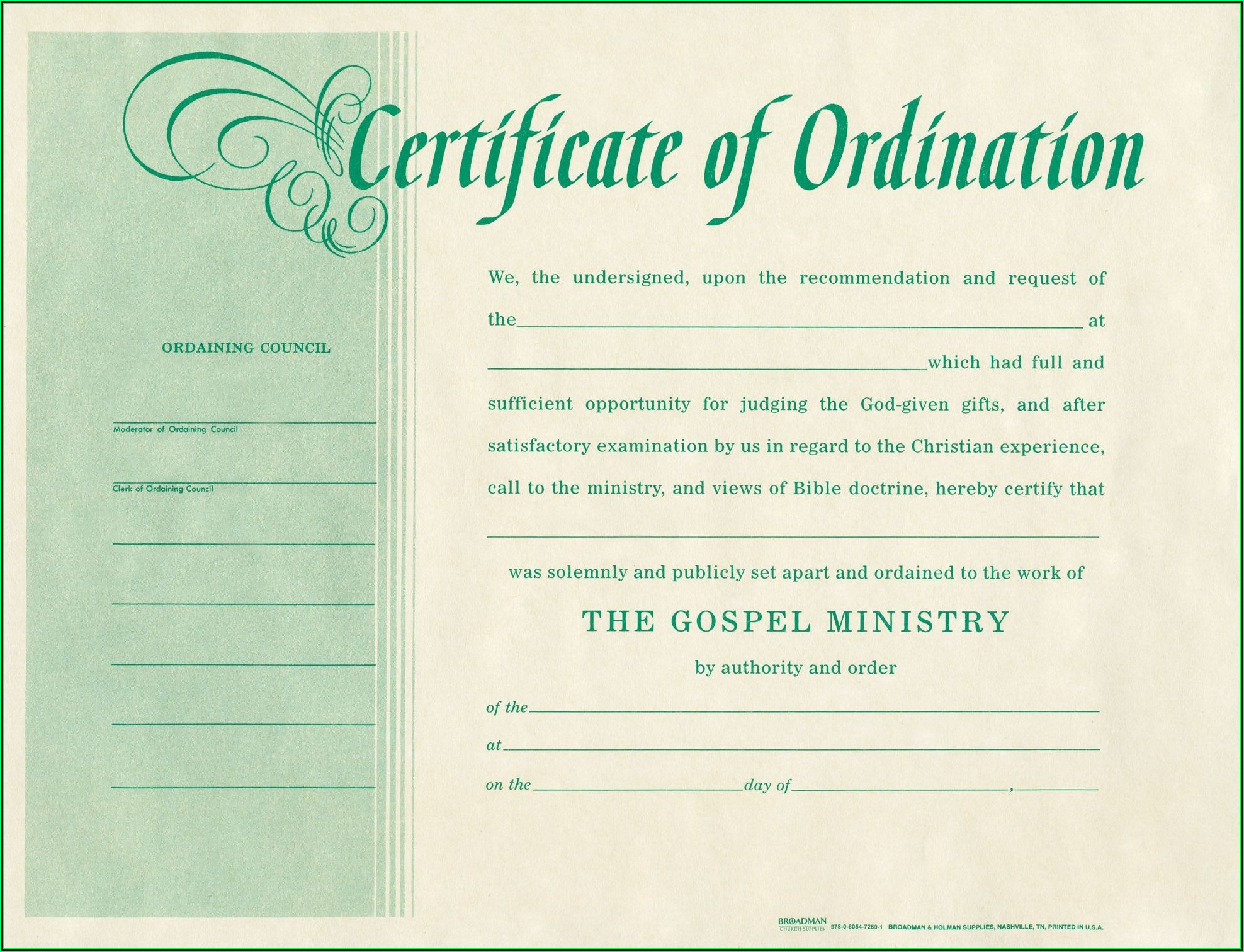 Pastor License Certificate Template