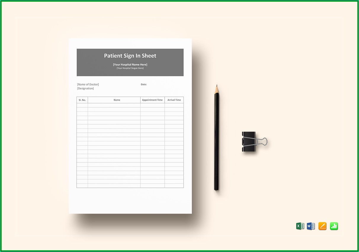 Patient Sign In Sheet Template Excel