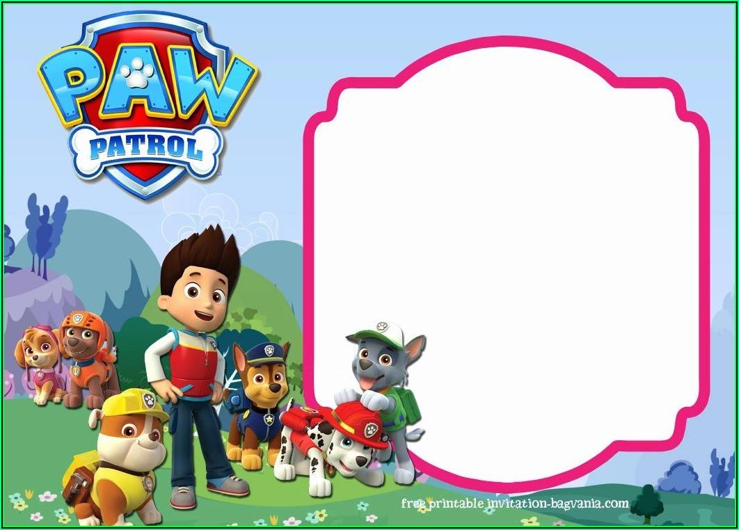 Paw Patrol Birthday Invitation Card Template