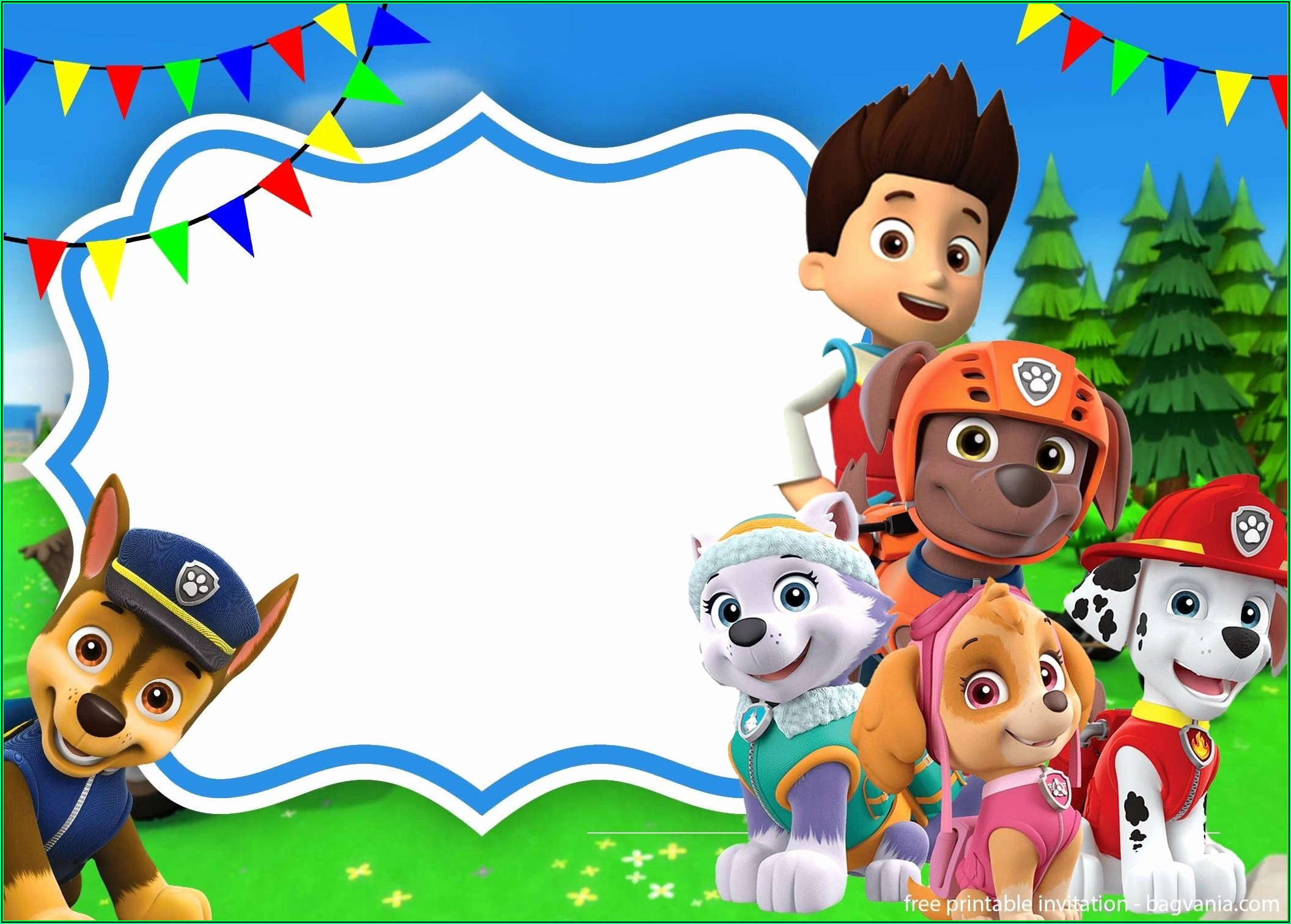 Paw Patrol Birthday Invitation Template