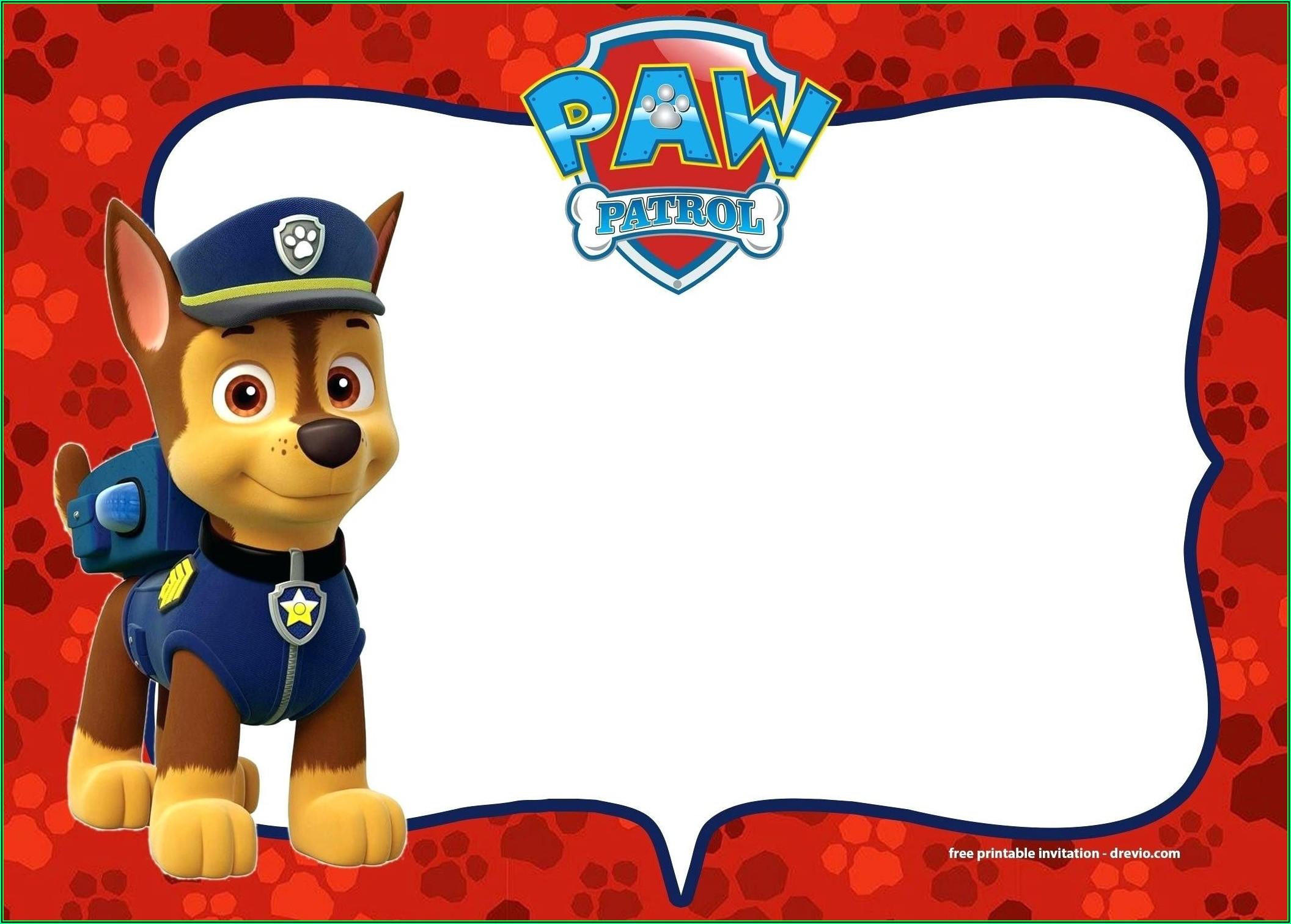 Paw Patrol Birthday Party Invitation Template Free