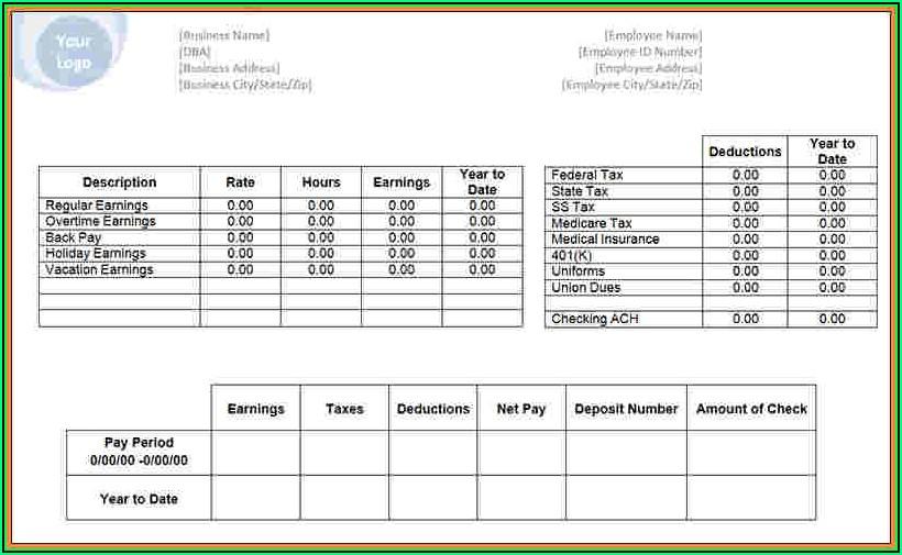 Payroll Check Stub Template