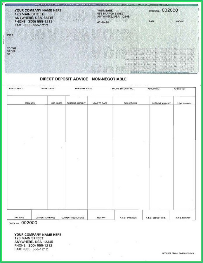 Payroll Check Template Free