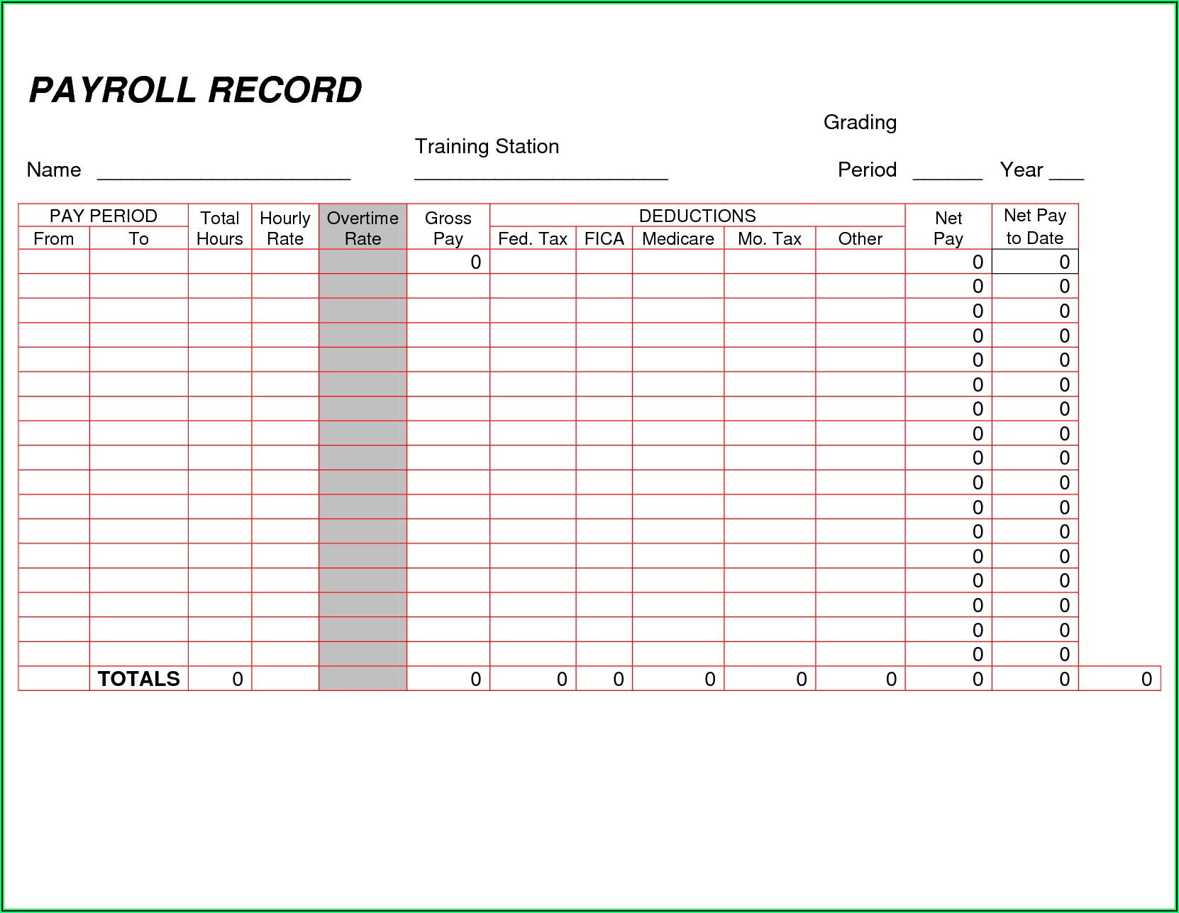 Payroll Ledger Template Pdf