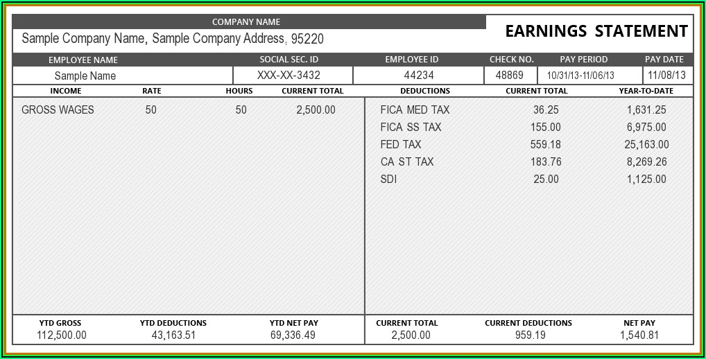 Payroll Paycheck Stub Template
