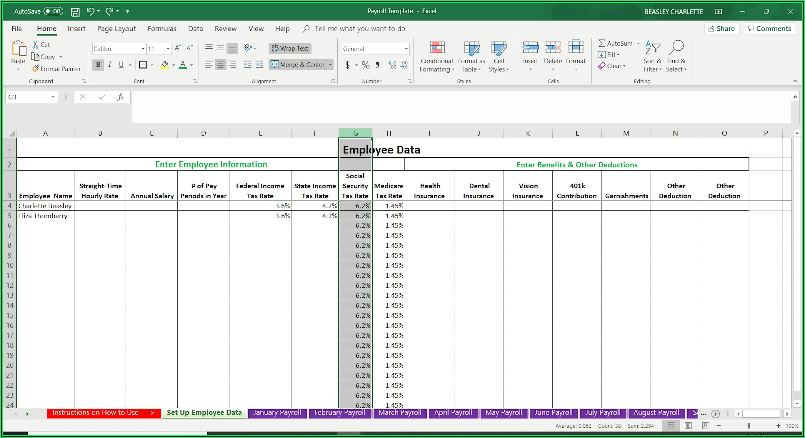 Payroll Template Excel Free