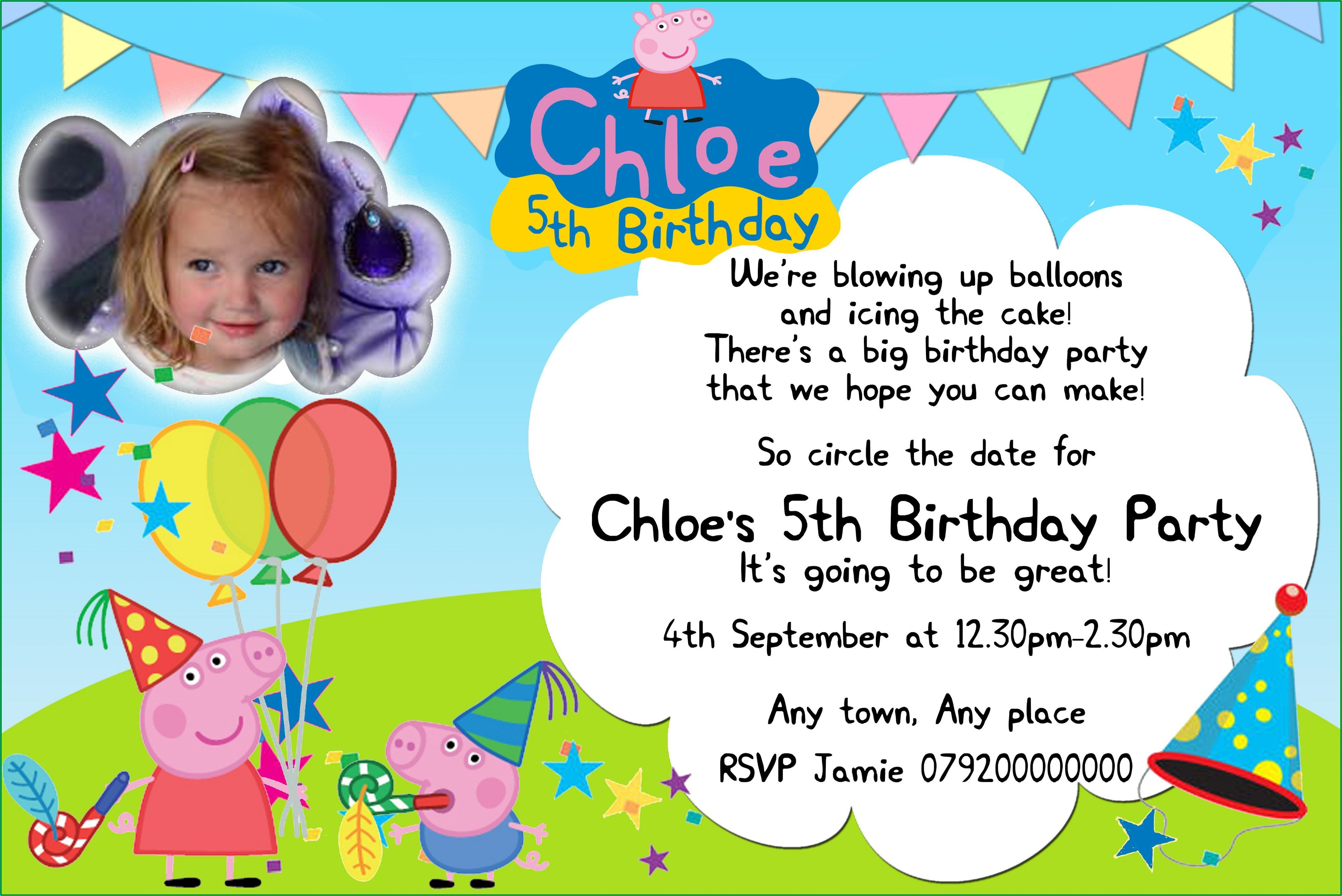 Peppa Pig Invitation Wording