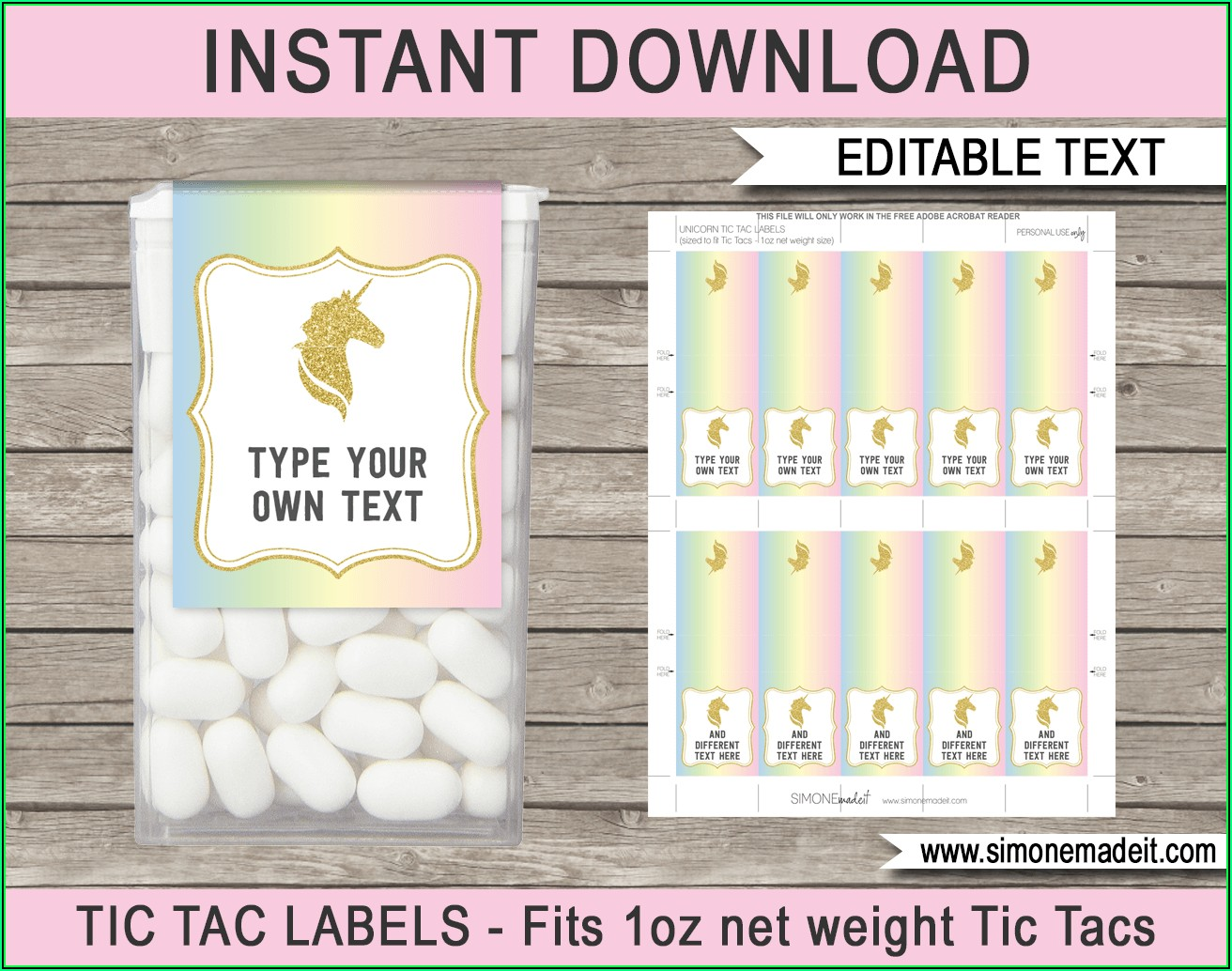 Personalized Tic Tac Labels Template