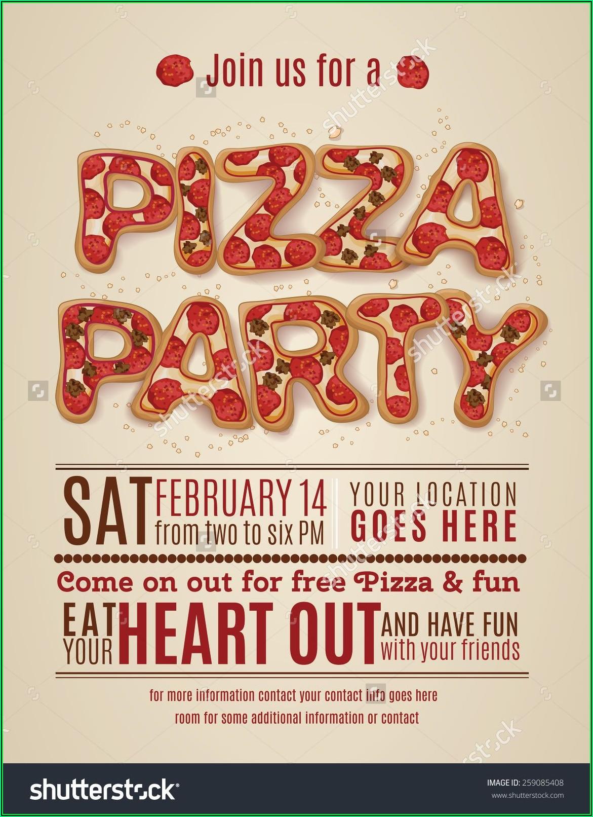 Pizza Birthday Party Invitation Templates