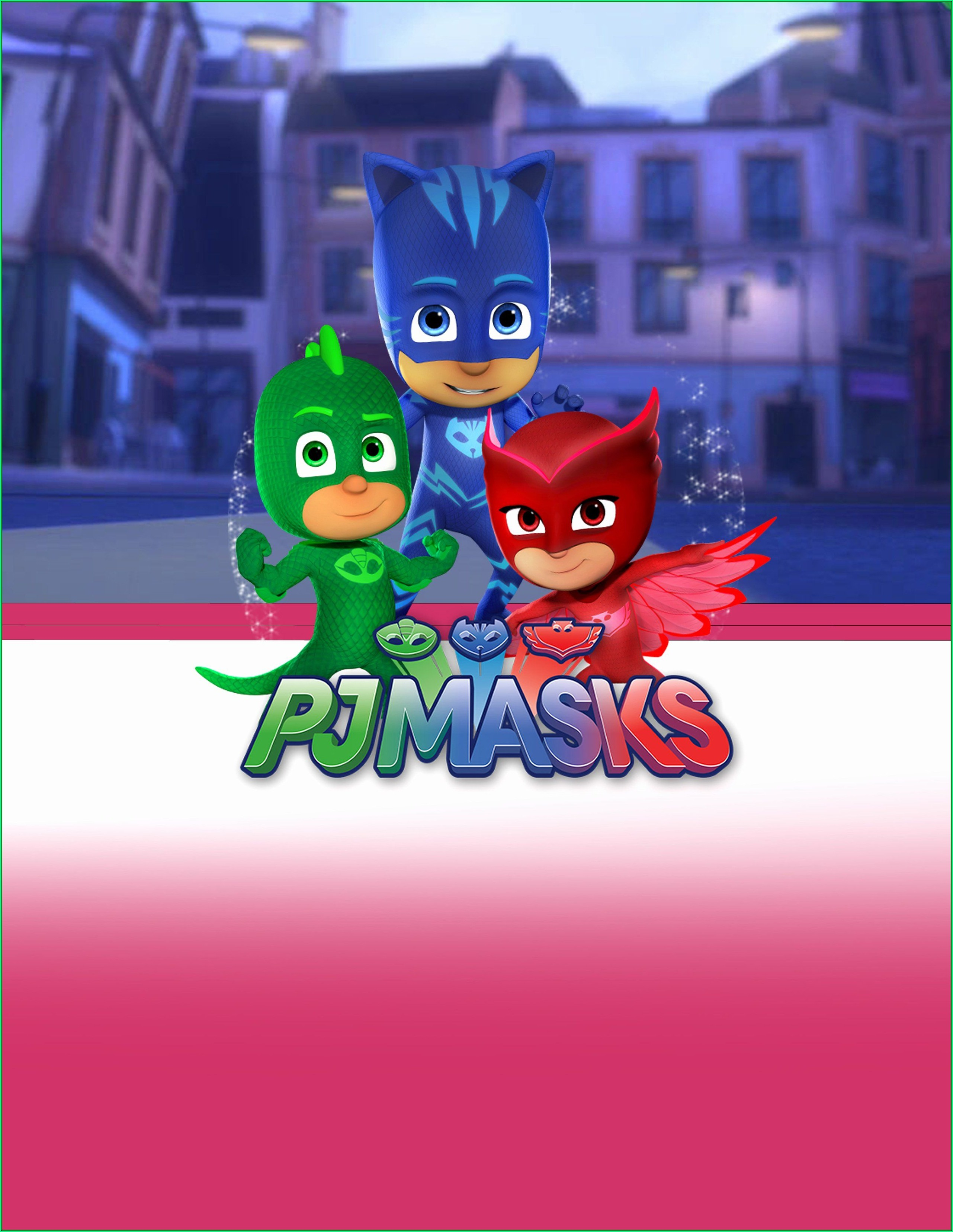 Pj Mask Party Invitation Template