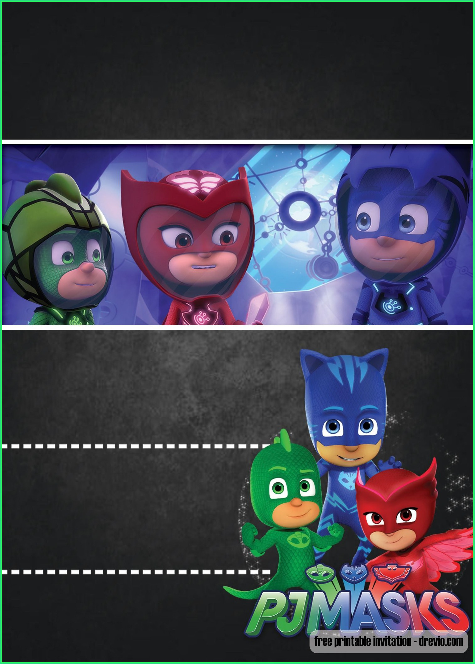 Pj Masks Birthday Invitation Template Free