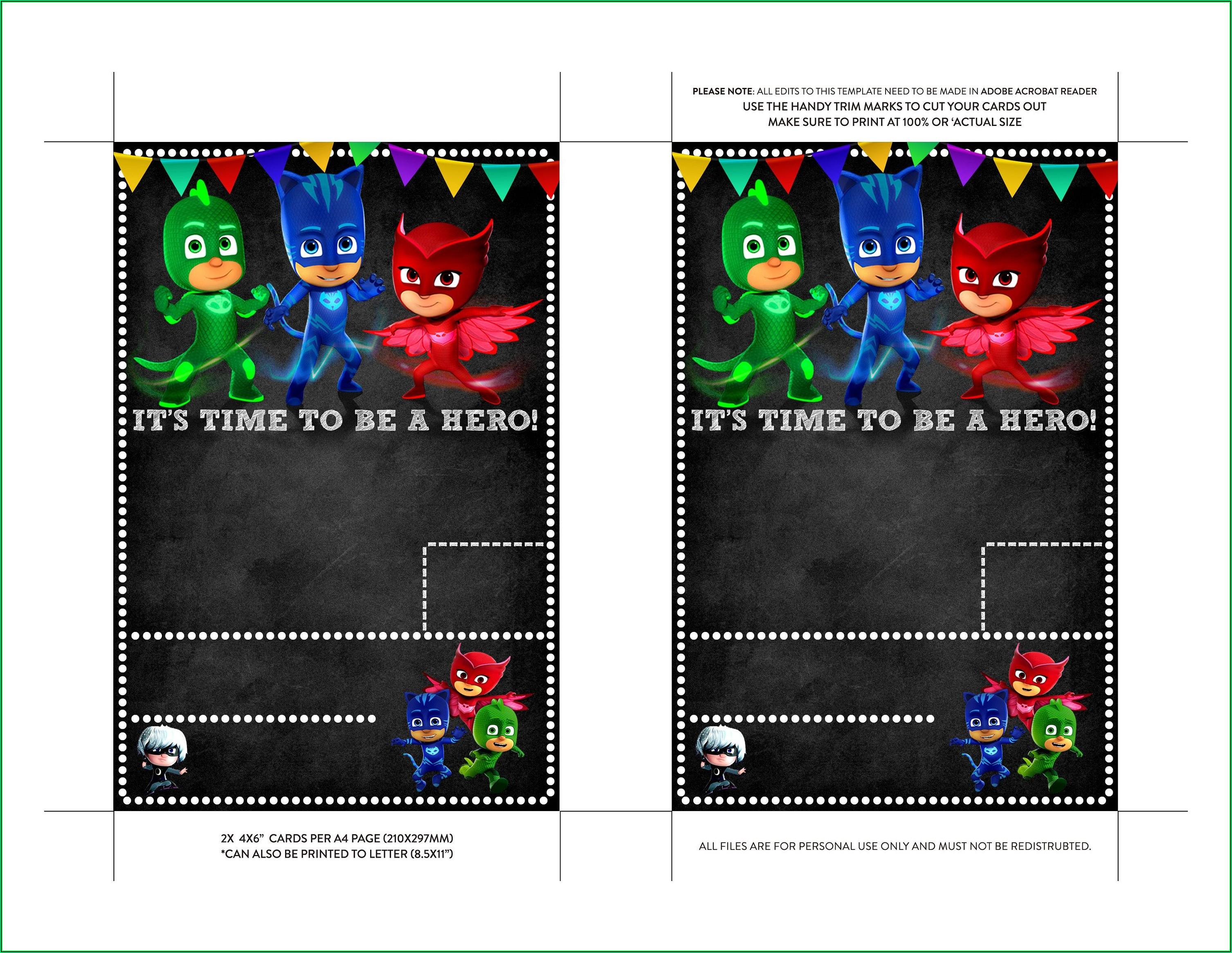 Pj Masks Invitation Card Template
