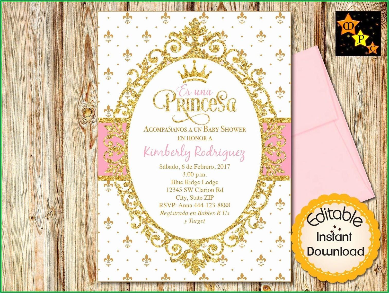 Princess Baby Shower Invitations Templates