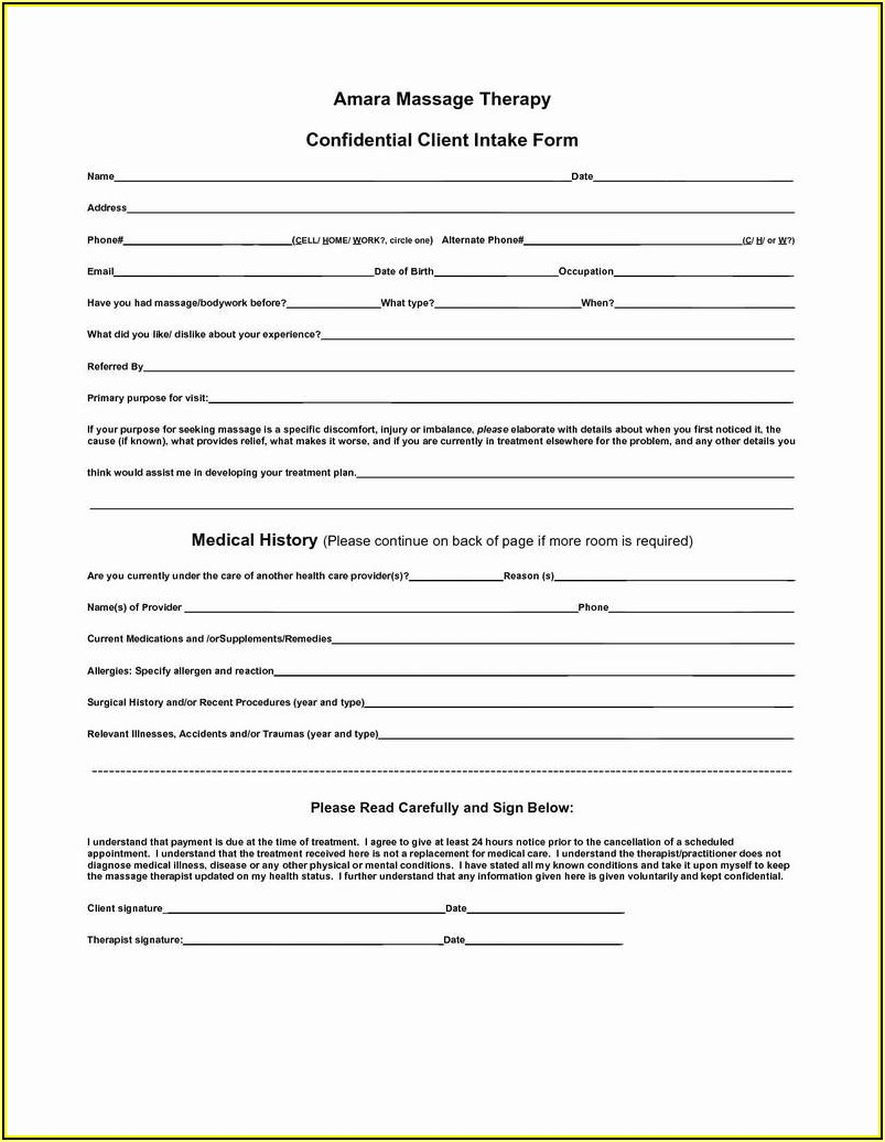 Printable Chair Massage Consent Form