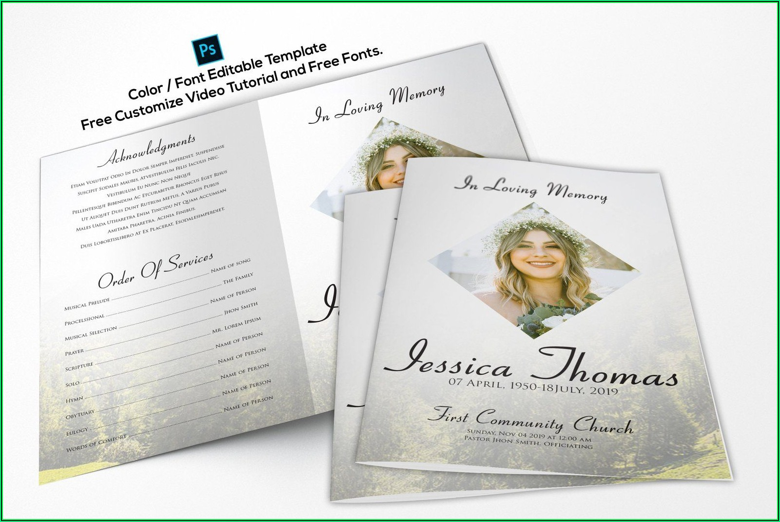 Printable Funeral Program Template Free
