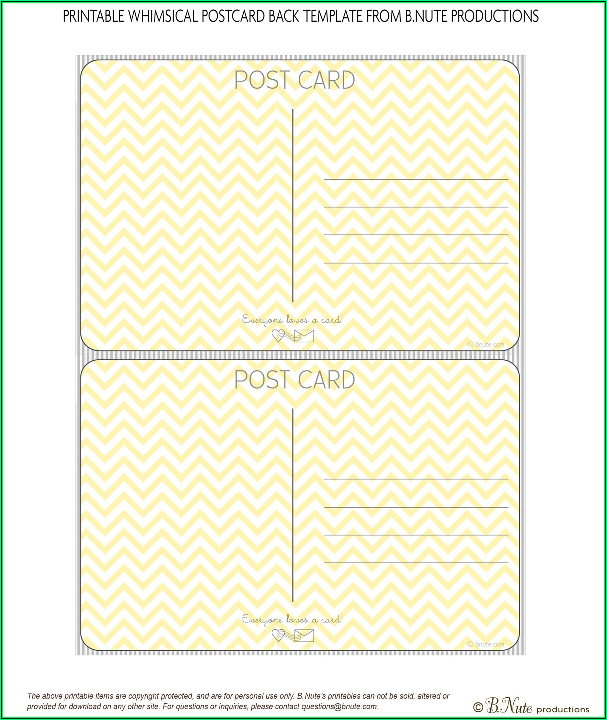 Printable Postcard Template Free
