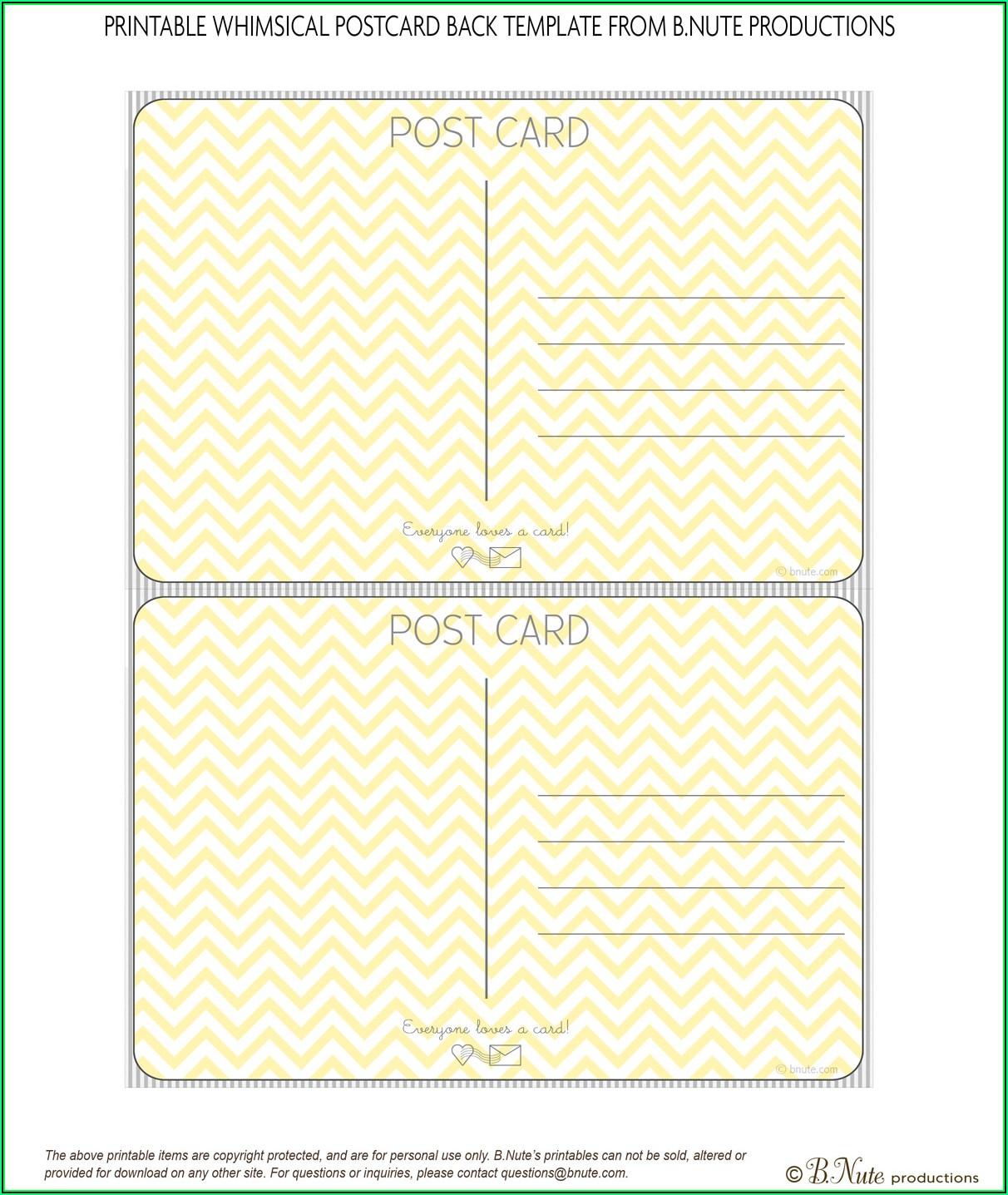 Printable Postcard Template Free
