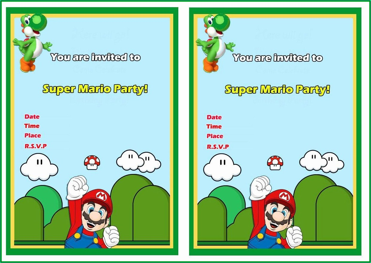 Printable Super Mario Invitations Template Free