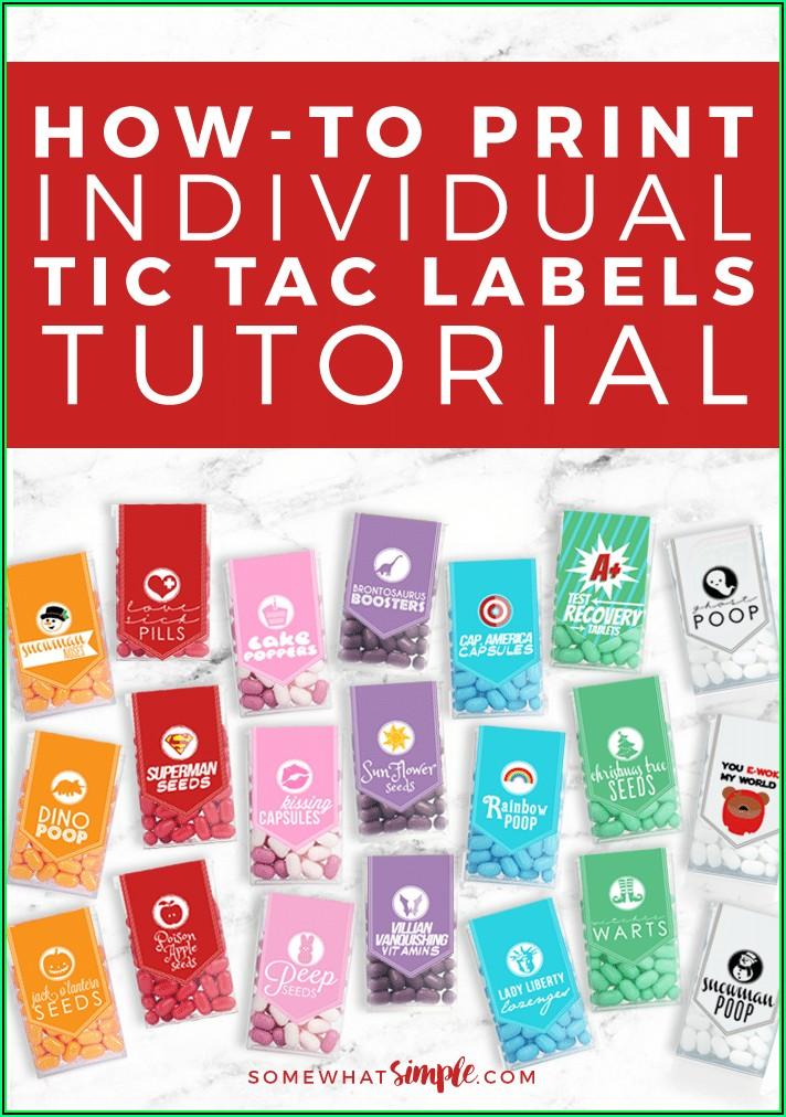 Printable Tic Tac Label Template