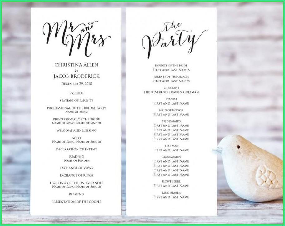 Printable Wedding Ceremony Program Templates