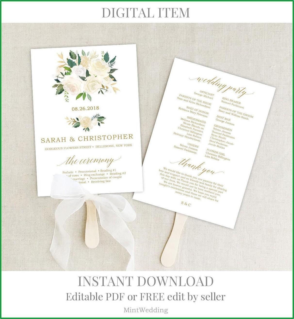 Printable Wedding Program Templates Free
