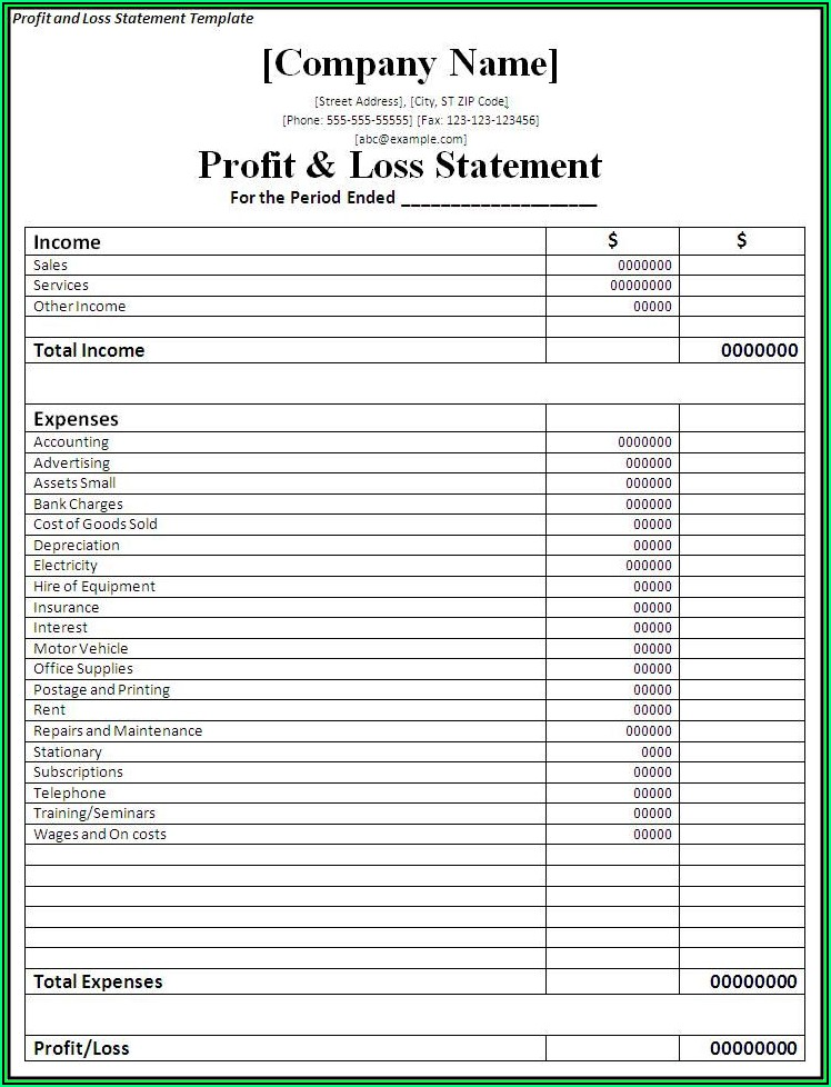 Profit And Loss Statement For Self Employed Construction Template
