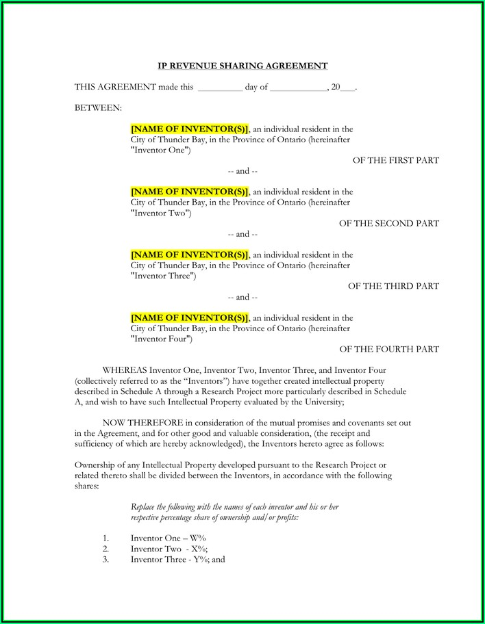 Profit Sharing Agreement Template Word