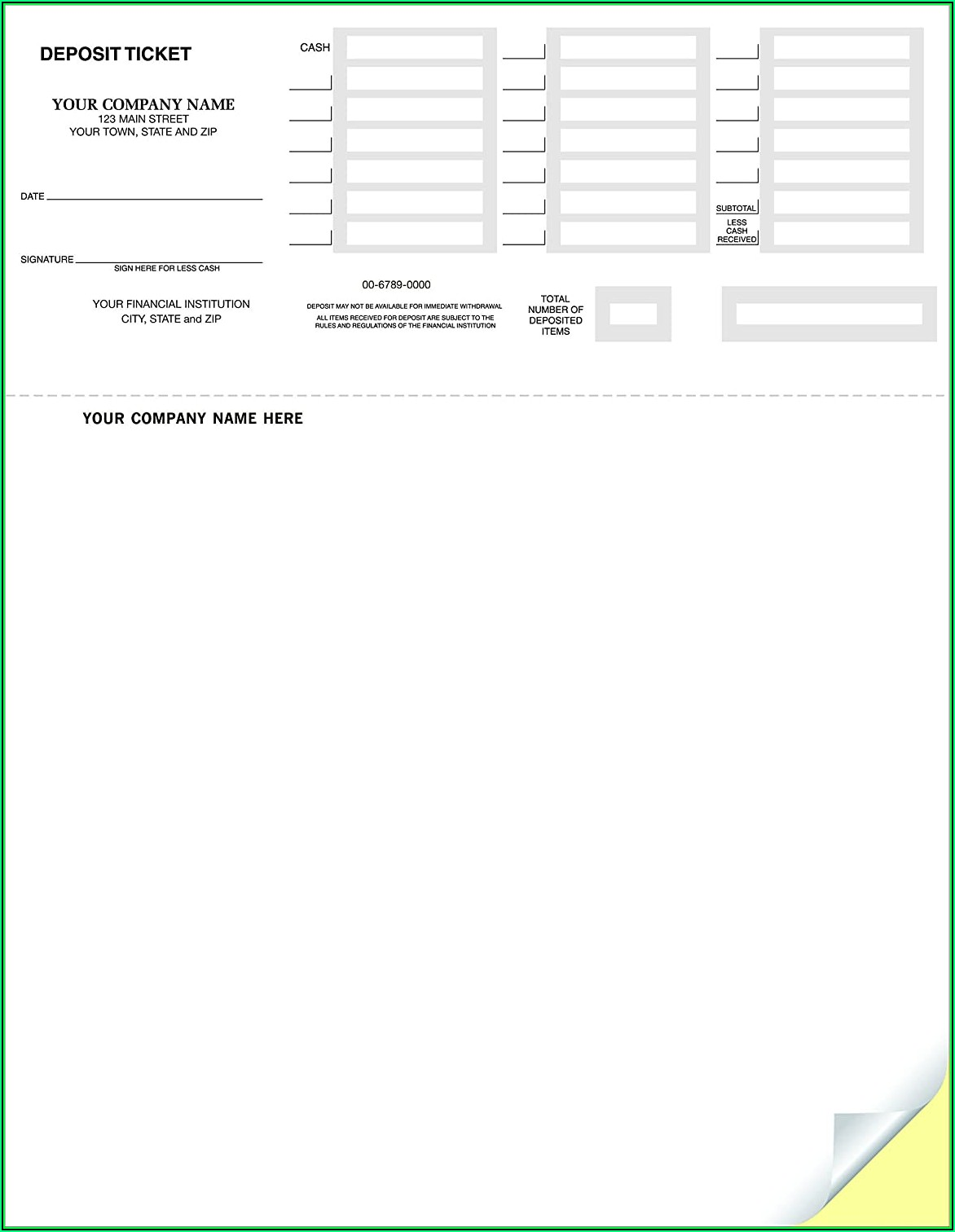 Quickbooks Bank Deposit Slip Template