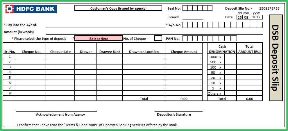 Quickbooks Deposit Slip Template Excel