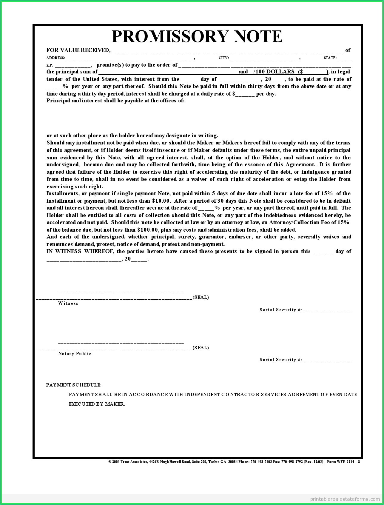 Real Estate Promissory Note Template Pdf