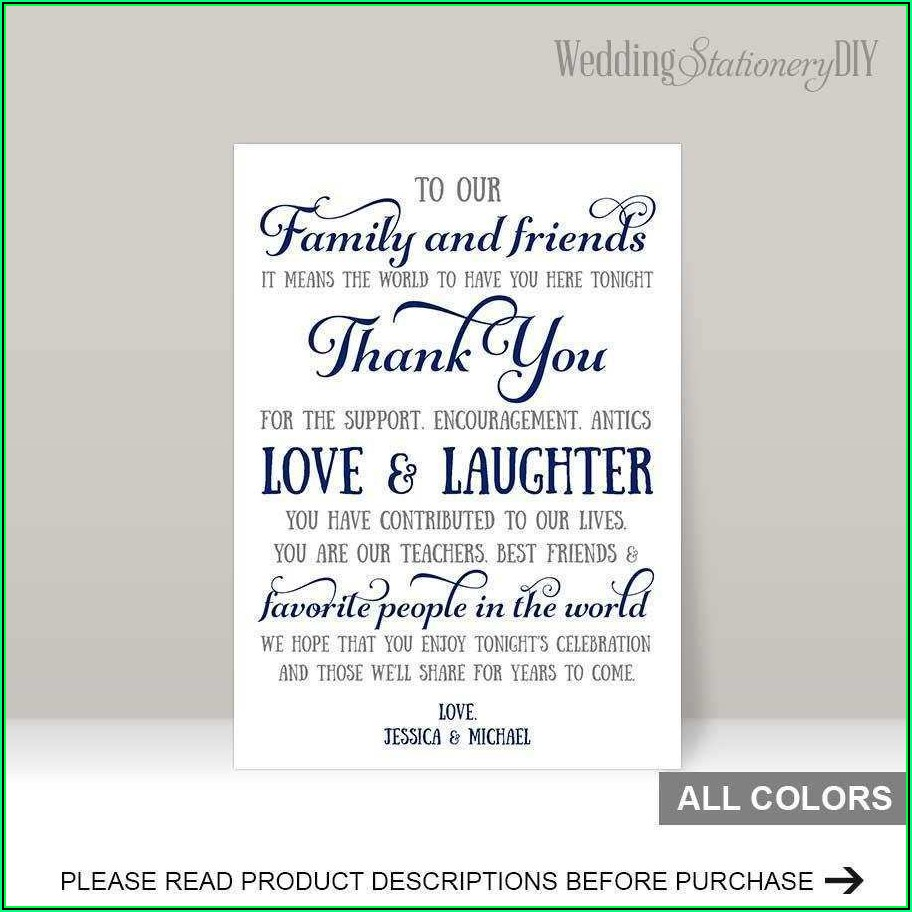 Reception Card Template Word