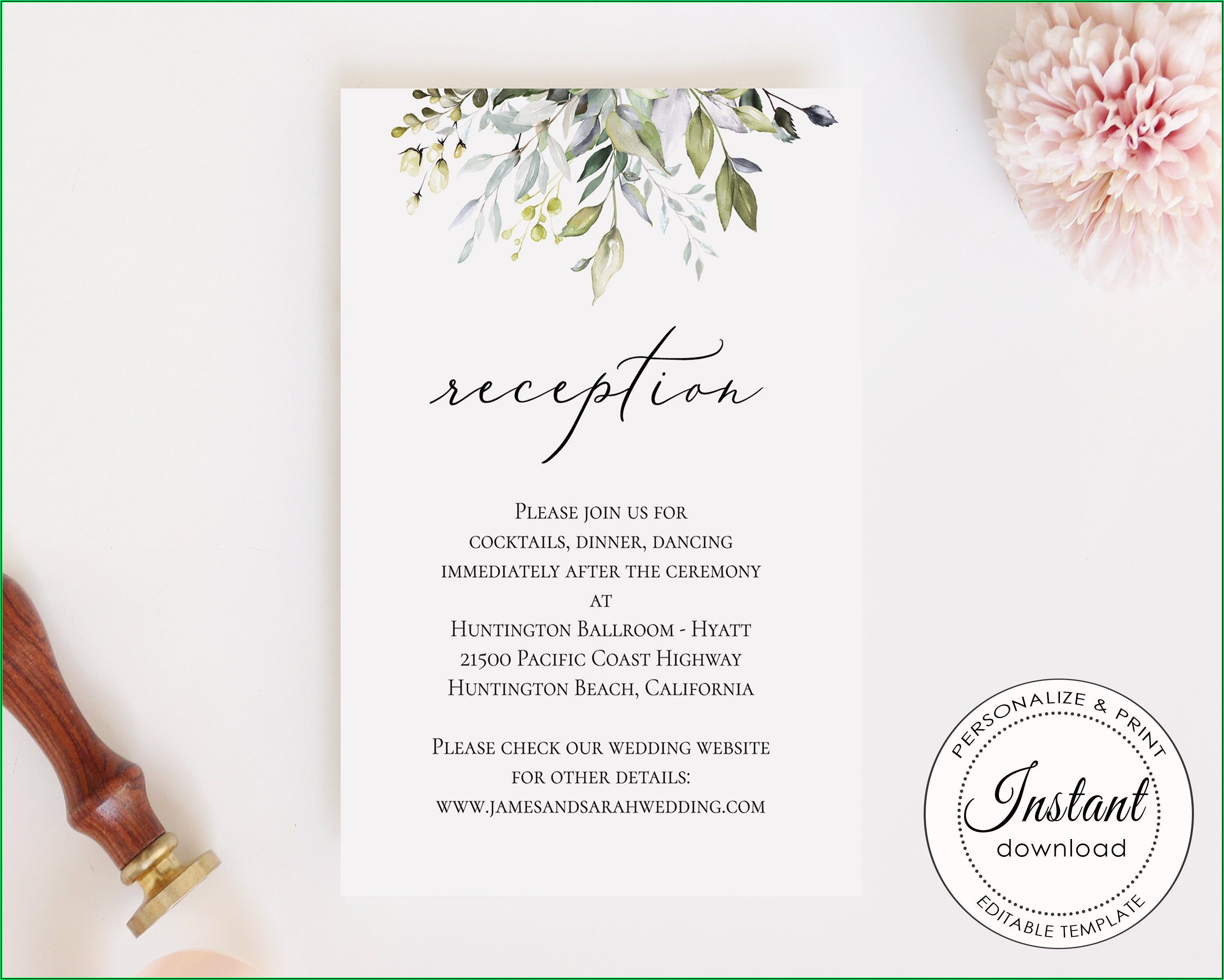 Reception Card Template