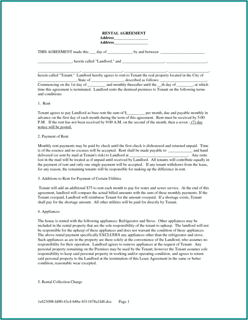 Rent Agreement Form California