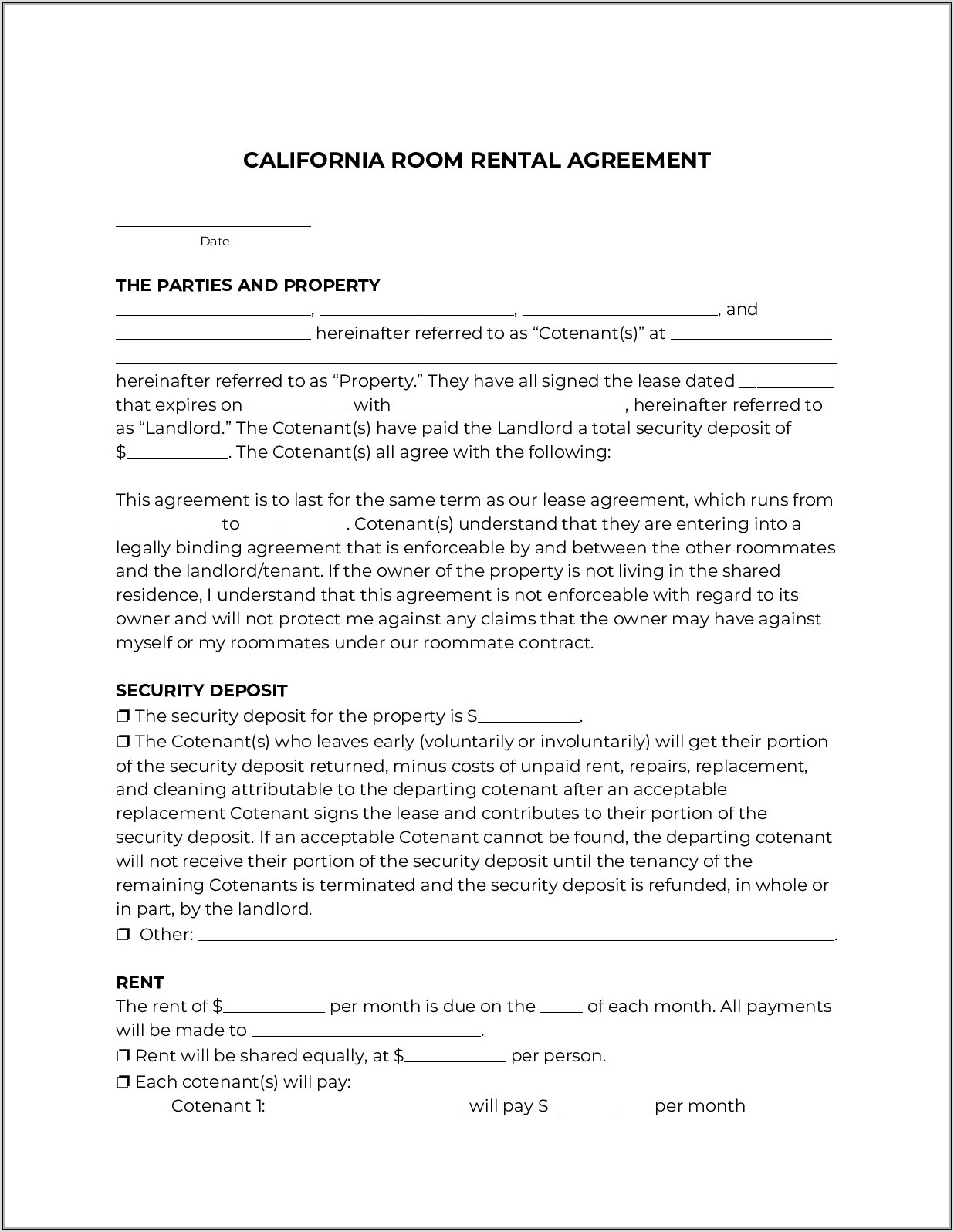 Rental Agreement Form California Pdf