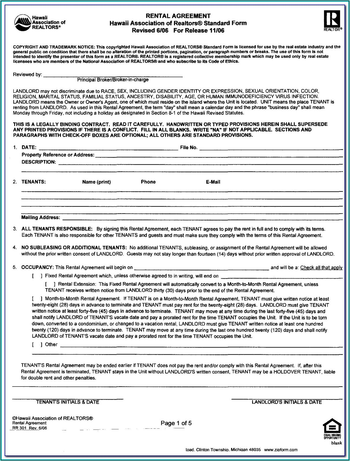 Rental Agreement Forms California Month To Month