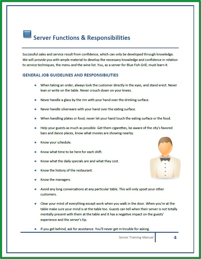 Restaurant Employee Handbook Template Word