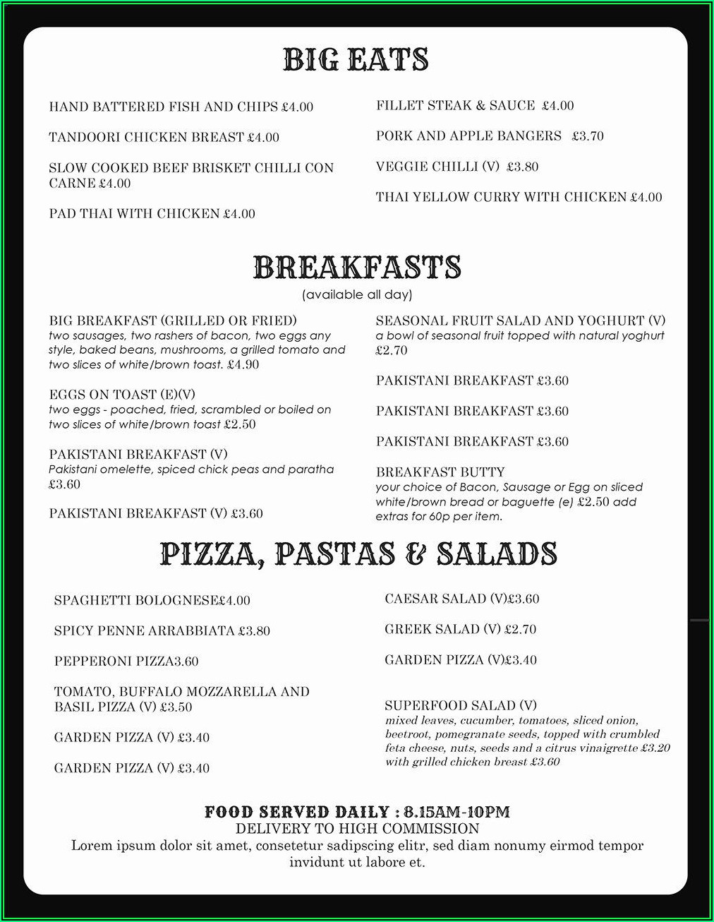 Restaurant Menu Template Microsoft Word