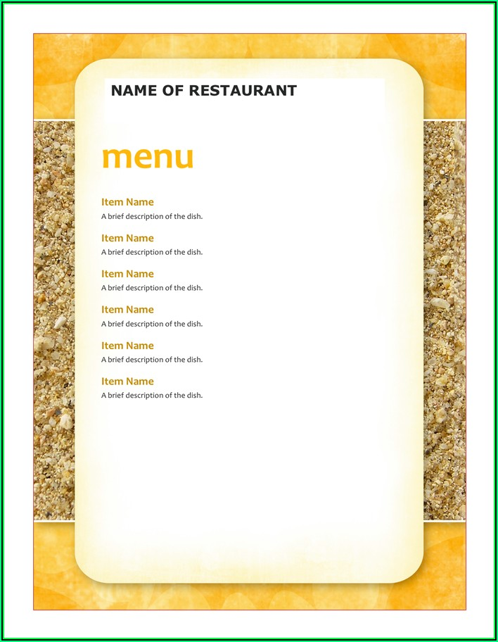 Restaurant Menu Template Word Download
