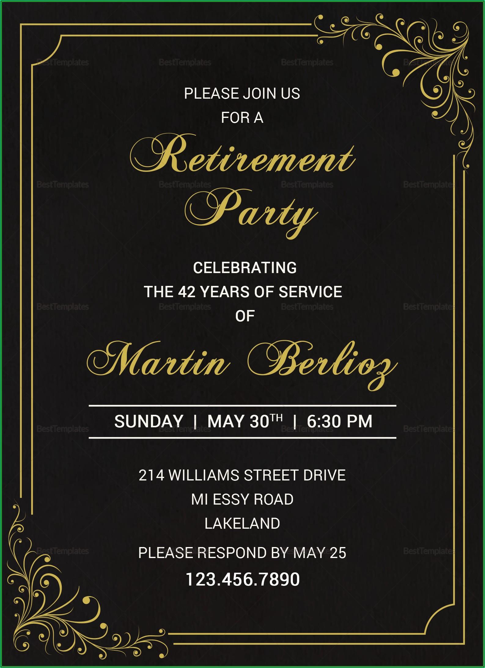 Retirement Invitation Template Psd