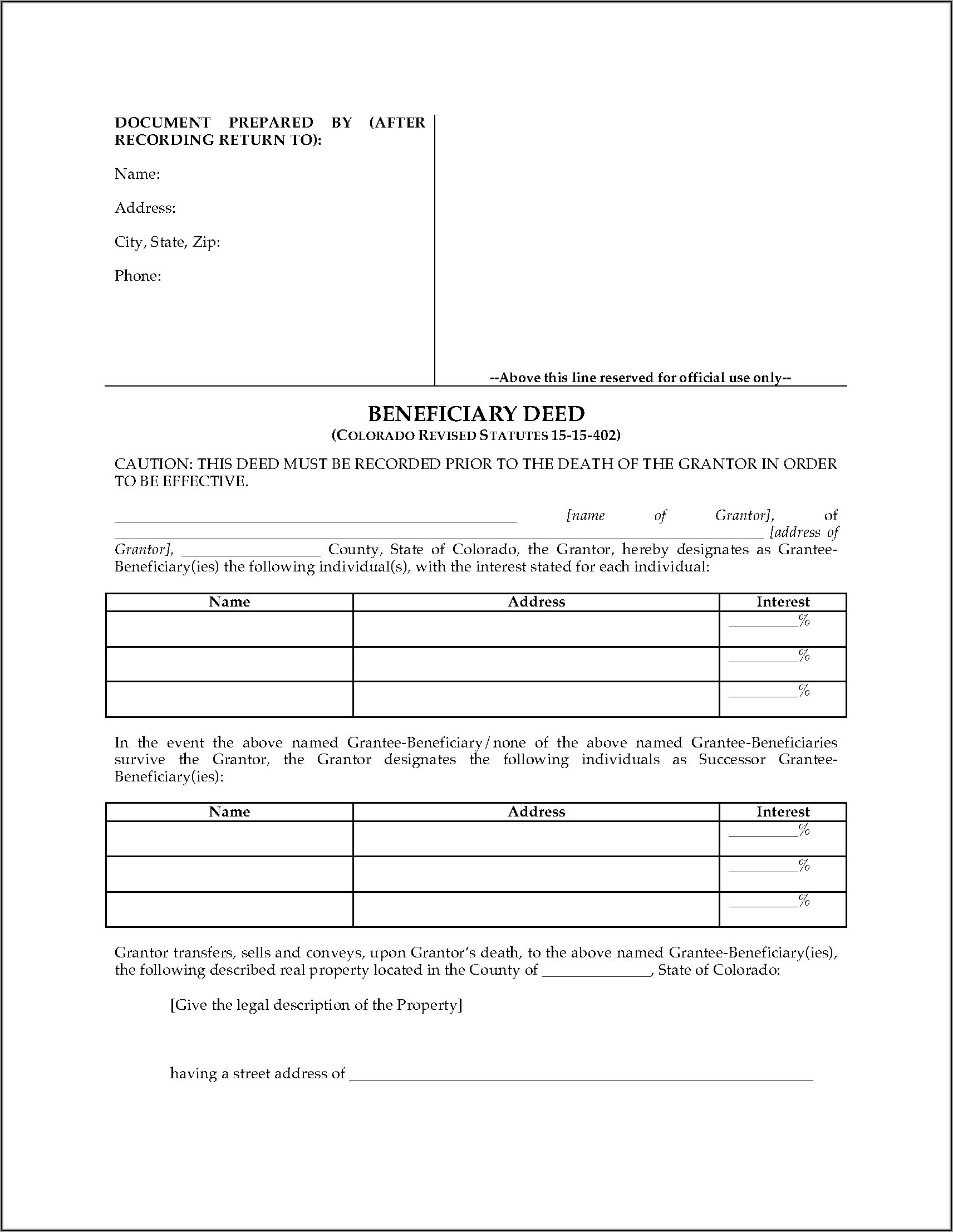 Revocation Of Beneficiary Deed Arizona Form