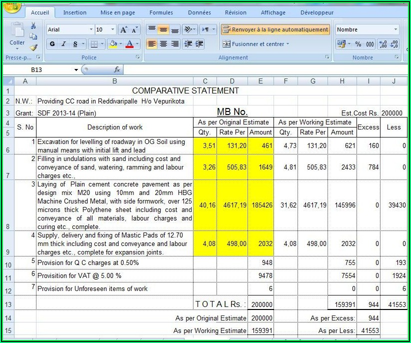 Road Construction Excel Templates