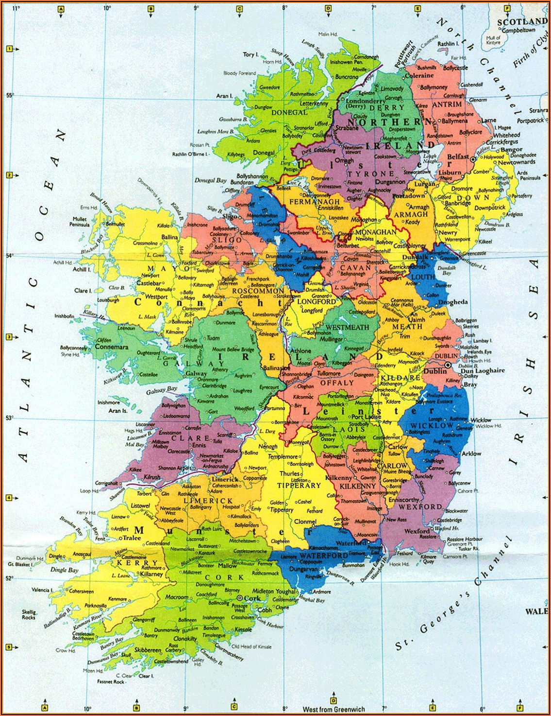 Road Map Of County Donegal Ireland