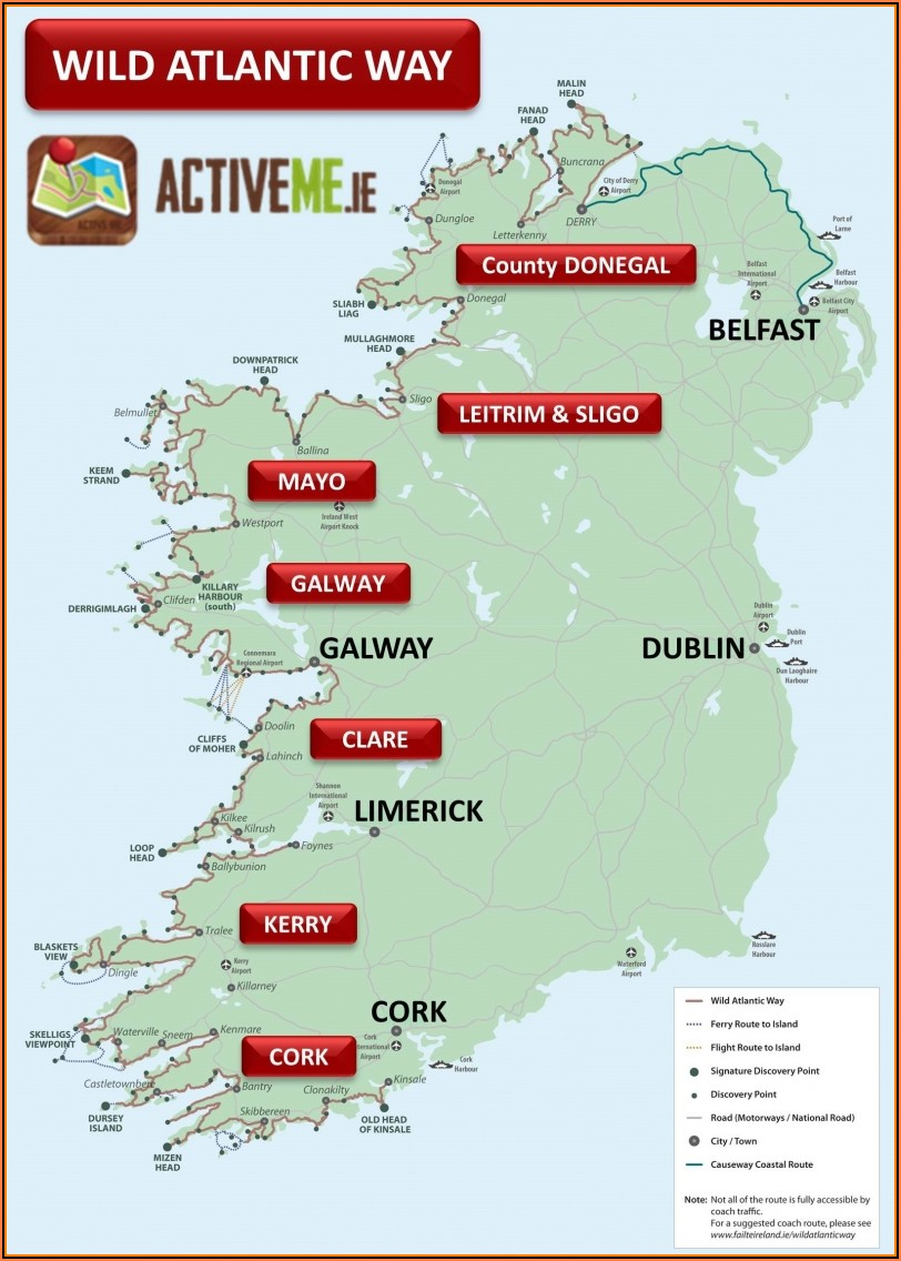 Road Map Of Donegal Ireland