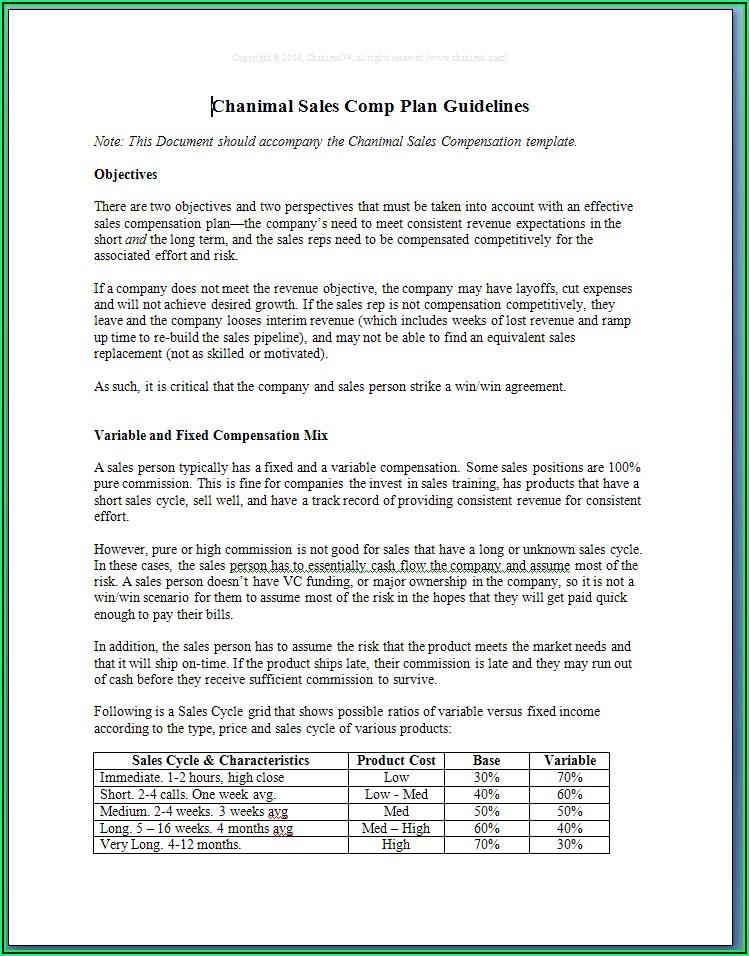 Sales Commission Compensation Plan Templates