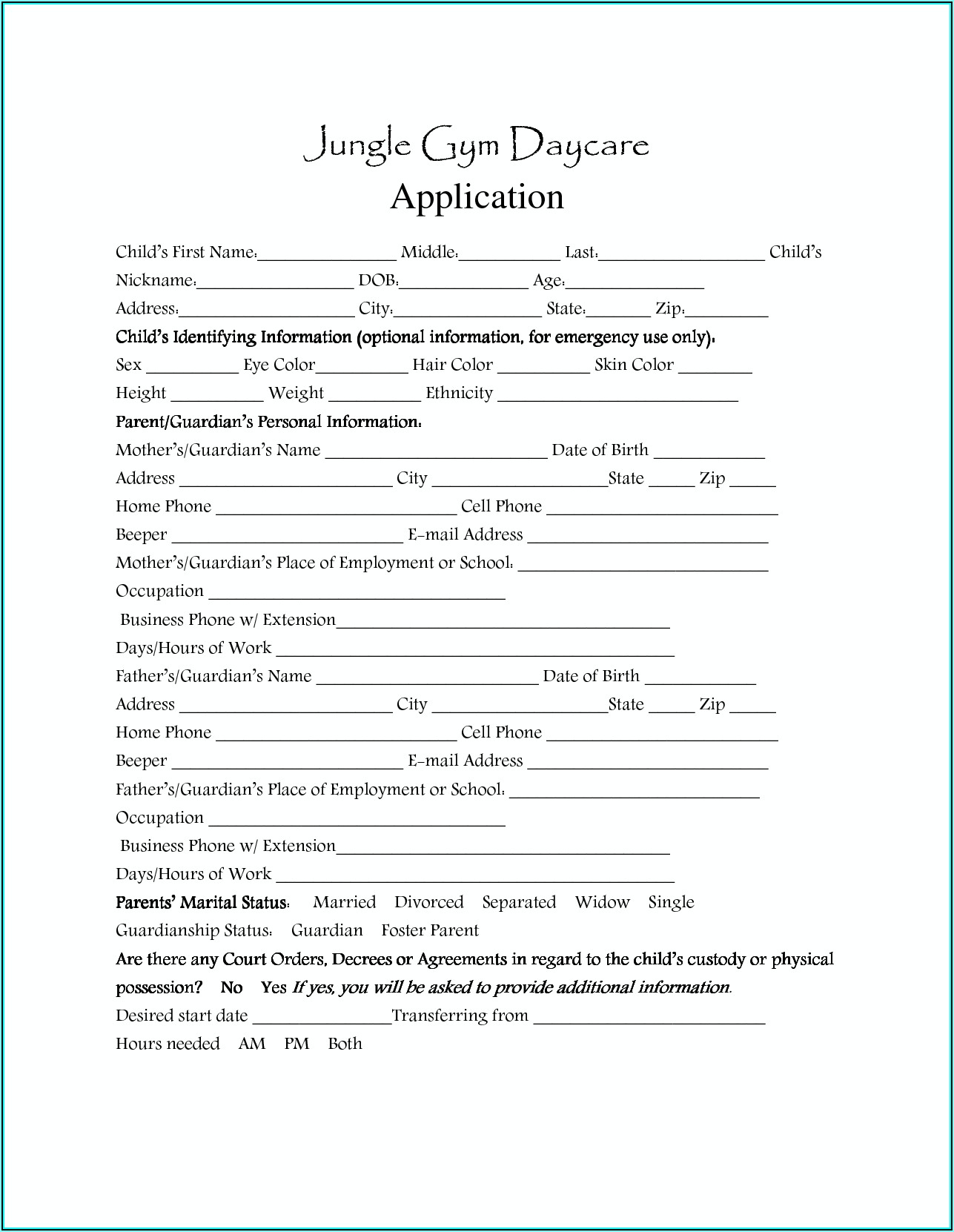 Sample Daycare Enrollment Forms