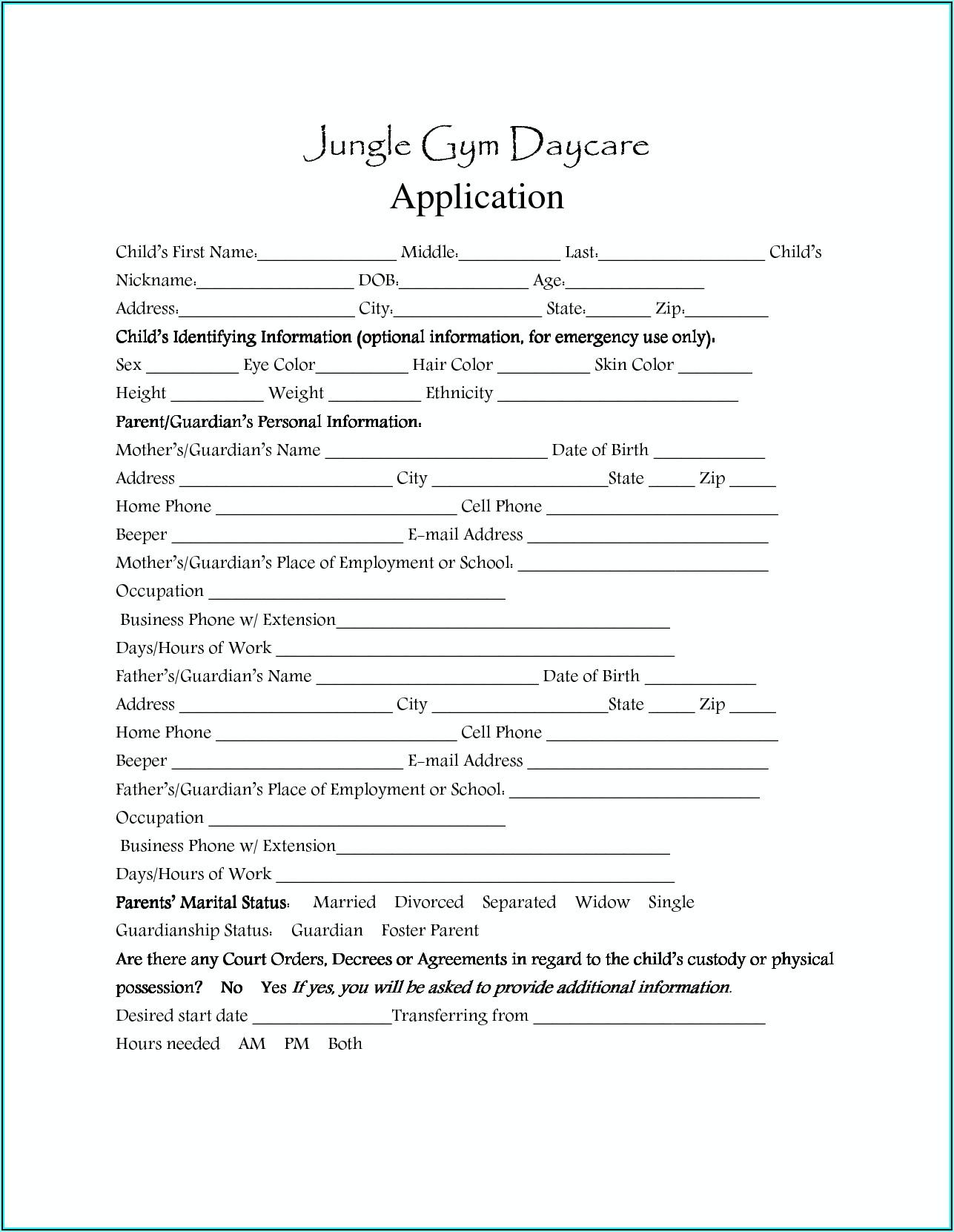 Sample Daycare Enrollment Forms