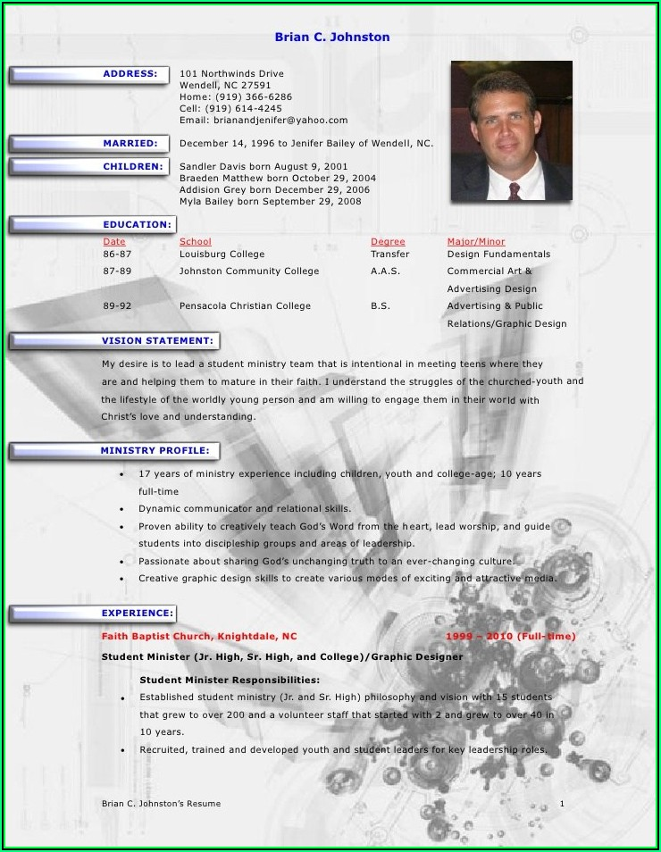 Sample Pastor Resume Templates