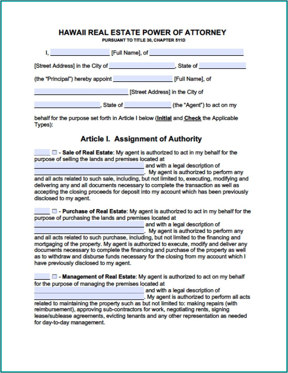 Sample Power Of Attorney Form Hawaii